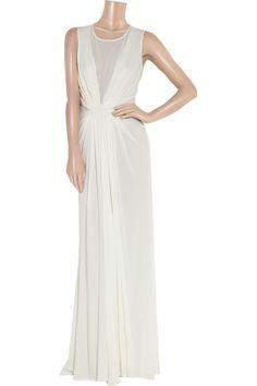 ISSA mesh paneled silk chiffon gown