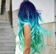 Super pretty... But where do girls with hair like this work??? I would never get hired with blue hair
