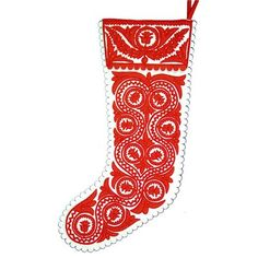 The Holiday Aisle Stocking Color: White/Red Simple Christmas, Christmas Crafts, Xmas, Vintage Christmas Stockings, Personalized Stockings, Reverse Applique, Stocking Holders, Red Felt, Felt Applique
