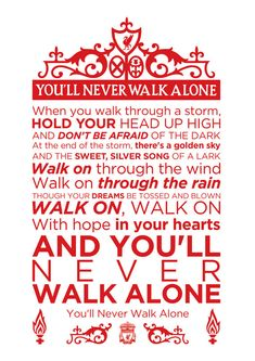 You'll Never Walk Alone Lyrics Print - Liverpool Football Club - Minimalist, Football Wall Art, LFC, Lfc Wallpaper, Liverpool Fc Wallpaper, Liverpool Wallpapers, Liverpool Logo, Liverpool Champions, Liverpool Football Club, Liverpool Memes, Champions League, Premier League