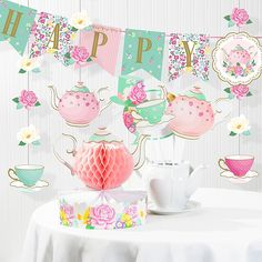 Creative Converting's Floral Tea Party Birthday Decorations Kit is perfect for your child's big day. Featuring a sweet mix of tea pots and floral, this kit includes a centerpiece, banner and hanging decor for the ultimate celebration. Girls Tea Party, Princess Tea Party, Tea Party Theme, 3rd Birthday Parties, 2nd Birthday, Toddler Tea Party, Birthday Ideas, Princess Sofia, Princess Birthday