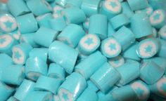 Light Blue and White Star Blue Raspberry Rock Candy and other lollies and sweets now at The Professors Online Lolly Shop