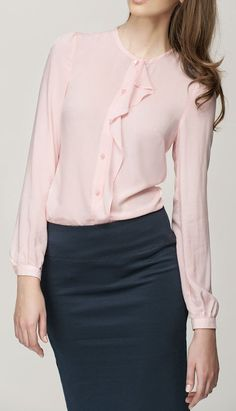 MISEBLA Powder Pink Frill Button-Up Top