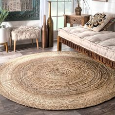 The Gray Barn Dry Creek Eco Natural Fiber Braided Reversible Jute Area Rug - Best Rugs - Ideas of Best Rugs - The Gray Barn Dry Creek Eco Natural Fiber Braided Reversible Jute Area Rug Round Area Rugs, Rug Shapes, Jute Rug, Seagrass Rug, Woven Rug, Natural Rug, Natural Beauty, Home And Deco, Online Home Decor Stores