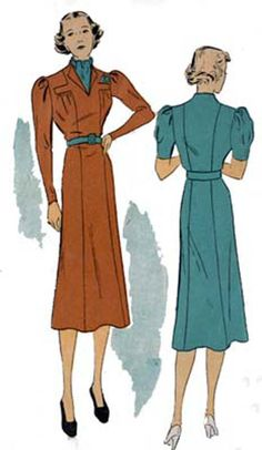 1940s Art Deco Dress DuBarry 1863B Fitted Long Line Afternoon Dress Vintage 40s Swing Era Sewing Pattern Size 14 Bust 32 by sandritocat on Etsy