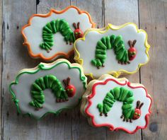 Very Hungry Caterpillar Sugar Cookies 1 dozen by LaPetiteCookie
