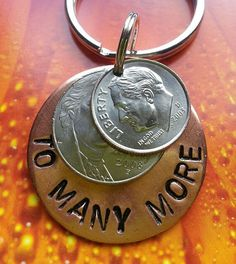 15 year anniversary gift, handstamped coins, 15th anniversary,  copper keychain, couples gift, anniversary keychain, 15 years and counting