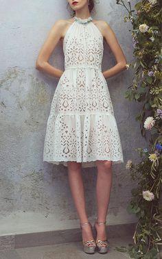 Eyelet Halter Short Dress