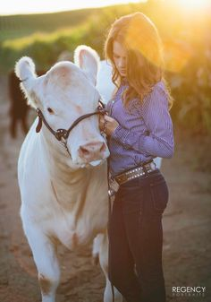 Senior pictures with cow. Senior girl. FFA senior pictures. 4H senior pictures. Country girl. Regency portraits.
