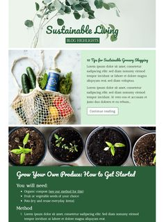 💚 Go green and share your best sustainable living tips and latest blog posts with this email template - exlusively available in Mail Designer 365 Campaign Monitor, Best Email, Email Templates, Email Design, Go Green, Sustainable Living, Sustainability, Posts, Spring