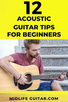 12 Beginner Acoustic Guitar Tips Play Guitar Chords, Learn Acoustic Guitar, Acoustic Guitar Strings, Learn To Play Guitar, Guitar Scales, Ukulele, Violin, Learn Guitar Beginner, Guitar