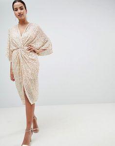 ASOS DESIGN Midi Plunge Embellished Kimono Dress $103.00