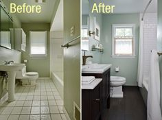 Bathroom Designs : Cool Small Bathroom Remodel With Sweet Mint Green Wall Paint Color And Dark Wooden Vanity Sink With White Countertops Also Tub Shower With White Ceramic Wall Tile And Wooden Floor - 21 Excellent Small Bathroom Remodels With Before And After Photos