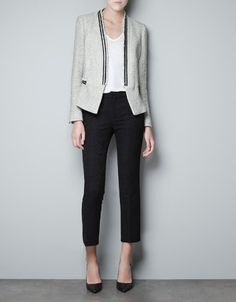 KNITTED BLAZER WITH METAL CORD - Blazers - Woman - ZARA    Ohh, how I want you!