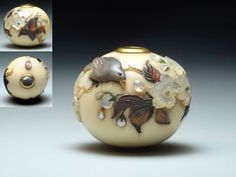 Ojime Shibayama. 19th century, ivory inlaid with mother-of-pearl, horn of buffalo, amber, green agate, etc ... Berna Collection