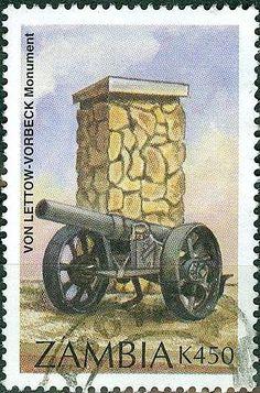 Sello: Von Lettow-Vorbeck (Zambia) (National monuments) Mi:ZM 654,Sn:ZM 652