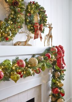 A perfect pair of reindeer for your mantel. Shop more holiday decor from #MarthaStewartLiving