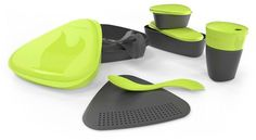 Feast at your campsite with a touch of civilization in your bags using this travel-sized set of containers complete with a spork and a covered cup. Camping Gear, Camping Hacks, Backpacking, Light My Fire, Sport, Scandinavian Design, Travel Size Products, Lime, Container