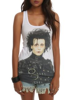 White racer back tank top with title character sublimation print from the classic Tim Burton film Edward Scissorhands.