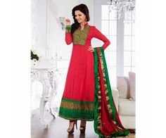 The Red color Anarkali Salwaar Kameez Suit with embroidered patch borders
