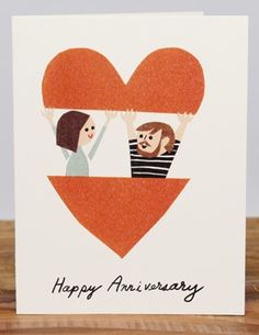 In your heart | Red Cap Cards | Illustrated greeting card by Christian Robinson // Hipster couple in a heart. #valentines