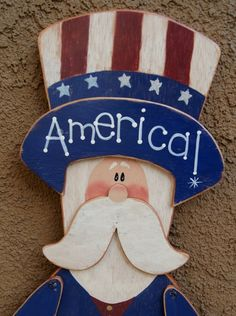 Patriotic Uncle Sam  4th of July Decoration  Wood by Cherables, $67.00