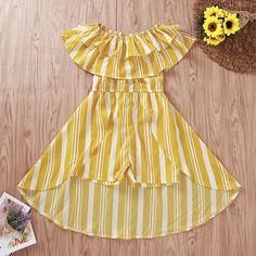 Yellow Striped Ruffle Top Romper Dress – Tins&Co Kids Summer Dresses, Yellow Dress Summer, Summer Dress Patterns, Baby Girl Dress Patterns, Cute Girl Outfits, Little Girl Dresses, Pretty Outfits, Baby Dress, Romper Dress