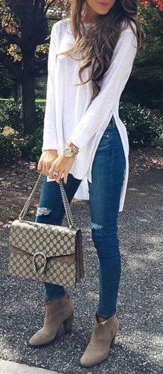 #fall #outfits / denim + booties