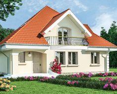 Proiect-casa-cu-Mansarda-18011 Duplex House Design, Dream Home Design, My Dream Home, Beautiful Small Homes, Small Modern Home, Modern Tv Room, Facade House, Design Case, Home Fashion