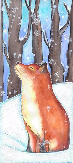 Fox in the snow in winter. Art journal page for a friend - from Shroo's World