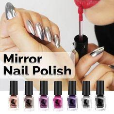Mirror Nail Polish Mirror Nail Polish, Mirror Nails, Nail Polish Colors, Cat Eye Nails, Polygel Nails, Manicure, Gray Nails, Beauty Hacks Nails, Beauty Tricks