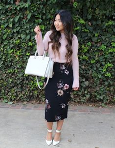 Who What Wear Black Floral Midi Pencil Skirt, Pink Bell Sleeve Sweater , white ankle strap pumps for today's modest church outfit. LDS Blogger, Mormon, Sunday Best, Modest Outfit, Church look #churchoutfits