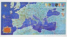Carte de l Europe médiévale  (jolies couleurs et vagues)