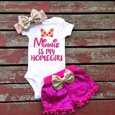 Minnie Is My Homegirl Bodysuit Baby Girl by GLITTERandGLAMshop