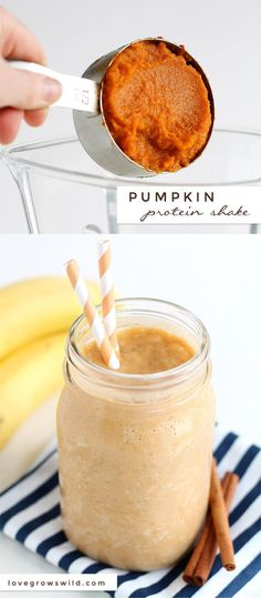 Pumpkin Pie Protein Smoothie Turn your protein shake into a delicious pumpkin treat Healthy satisfying and super tasty Love Grows Wild Yummy Drinks, Healthy Drinks, Healthy Eating, Yummy Food, Healthy Food, Refreshing Drinks, Clean Eating, Nutrition Drinks, Detox Drinks