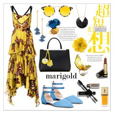 """""""Stay Golden: Dressing in Marigold"""" by emilyde83 ❤ liked on Polyvore featuring Cinq à Sept, SJP, Heidi Abrahamson, Fendi, Ben-Amun, Krewe, Gucci, Yves Saint Laurent, Summer and yellow"""