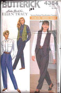 Butterick Sewing Pattern 4384 Misses' Shirt, Vest, Pants by Ellen Tracy  Size:  12-14-16  Uncut
