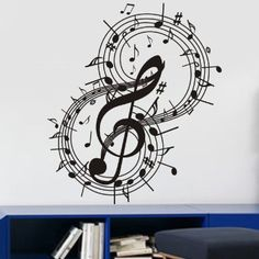 "Amazon.com: 23.6"" X 19.6"" Fashion Music Notes Decoration Wall Art Decals Mural DIY Vinyl Décor for Room Home.Black: Home & Kitchen"