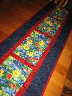 Quilted Table Runner Texas Wildflowers in Red by TahoeQuilts
