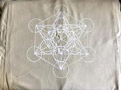 XL METATRON'S CUBE Crystal Grid Cloth white ink