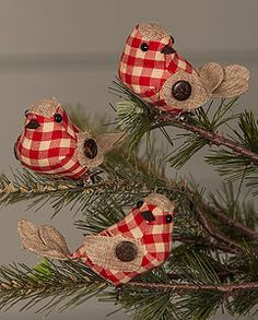 Fabric Gingham Christmas Robins