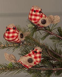 Fabric Gingham Christmas Robins