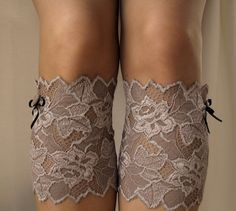 Lace Boot Cuff Socks Smoky brown with black bow  by VANAGScreative, $15.00