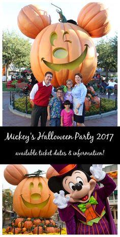 mickeys halloween party 2017 ticket dates for Disneyland California.