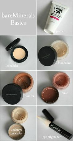 bareMinerals: Foundation Primer / Correcting Concealer / Original Foundation in Fairly Light / Bronzer in Warmth / Blush in Glee / Well-Rested Powder / Well-Rested Eye Brightening Pen Related