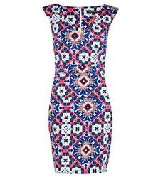 Electric Mosaic Cap Sleeve V-Neck Dress