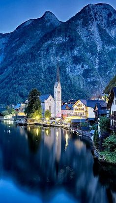 Hallstatt, Austria. We were here a month ago. It truly is as beautiful as this pic. Can't wait to go back:)