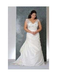 A-Line Sweetheart Empire Waist Pleated Long Taffeta Cap Sleeves Ivory Plus Size Wedding Dresses