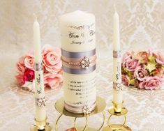 Silver Wedding Unity Candle Set, Personalized Unity Candles Set for Wedding, Silver and Blush Wedding Candles Memory Candle Wedding, Wedding Unity Candles, Pillar Candles, Long Burning Candles, Wedding Memorial, Wedding Headband, Ivory Wedding, Candle Set, Personalized Wedding