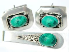 Sterling Turquoise Cufflinks Tie Bar For Men Israel Silver Vintage Suit And Tie Jewelry Accessory Set High Fashion For Men by JewelryQuestDesign